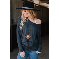 Solid Dolman Top - Charcoal