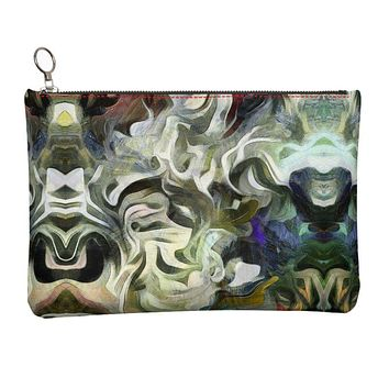 Abstract Fluid Lines of Movement Muted Tones High Fashion Leather Clutch Bag by The Photo Access