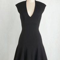 LBD Mid-length Cap Sleeves Drop Waist A Dash of Flair Dress in Black