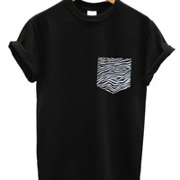 Zebra print pocket black t shirt