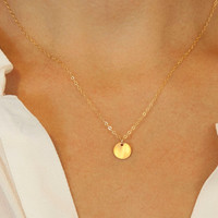 Customized Gold Circle Necklace / Simple Everyday Necklace / Delicate SMALL DISC Necklace / Vermeil Gold Tag on 14k Gold Fill Chain LN209