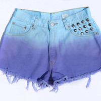 SALE! Vintage High Waisted  Ombre Dip Dyed Levi Denim Shorts