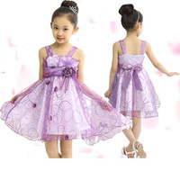 2015 Summer Fashion Flower Girl's dress sleeveless vest ribbon pure cotton net yarn baby lace dress children clothing Free Shipping A-0176