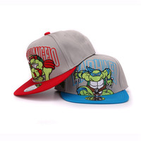 High quality cotton kids snapback cap ninja turtles embroidery children flat hip hop hat for boy and girl