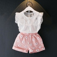 Girls Clothing Sets Summer Girls Clothes Petal Sleeve T-shirt+Pink Shorts 2Pcs Kids Clothing Set Children Girl Clothing