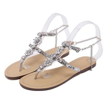 Women Flat Sandals Crystal Summer Gladiator Sandals Flip Flops Beach Party Shoes Chains Floral