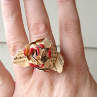 Rosette flower adjustable ring up-cycled from Makers Mark bourbon bottle labels