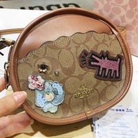 COACH New fashion pattern leather round shoulder bag crossbody bag