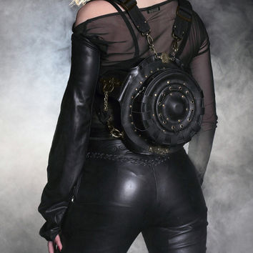 Steel master steampunk fashion bag in Europe and America shoulder bag waist bag 2015 tide gothic round black bag  Free Shipping