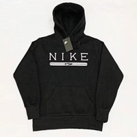 NIKE Fashion Women Men Leisure Long Sleeve Hooded Velvet Sweater Top Sweatshirt Black