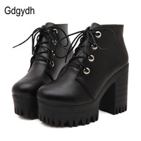 Gdgydh Brand Designers 2017 New Spring Autumn Women Shoes Black High Heels Boots Lacing Platform Ankle Boots Chunky Size 35-39
