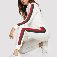 White Tie Neck Tape Side Top And Pant Set