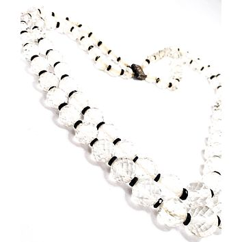 Art Deco faceted black and white cut crystal double strand sterling silver antique necklace