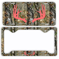Coral Antlers Camo Deer License Plate Frame Car Tag Country Hunting