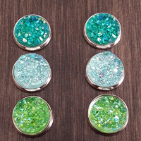 Druzy earring set-  Greenery drusy stud set - druzy earrings