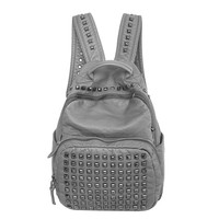 Gray Faux Leather Rivet Zippered Backpack