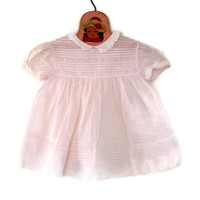 Vintage Baby Dress Handmade Soft Pink Cotton with Delicate Embroidery 12 Months