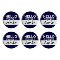 Amir Hello My Name Is Plastic Resin Button Set of 6