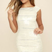 Feeling Alive Silver and White Sequin Dress
