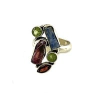 Kyanite Rough, Garnet & Peridot Sterling Silver Ring