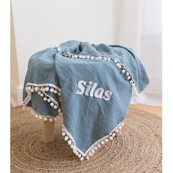 Custom Blue Muslin Blanket with Embroidery