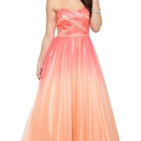 Dress with Stone Bodice and Full Ombre Skirt