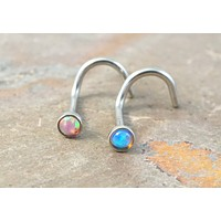 Pink Opal and Turquoise Blue Fire Opal Nose Bone Ring Stud