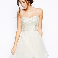 Chi Chi London Lace Bandeau Prom Dress with Embroidered Bust