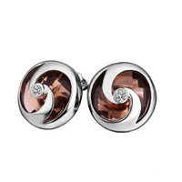Gold Plated White Gold Brown Crystal Earrings Fashion Jewelry, Nickel Free, Rhinestone