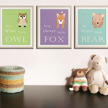 Be brave little bear. Grow wise little owl Woodland nursery decor. Owl Nursery wall art. 3 8x10 kids decor artwork by WallFry
