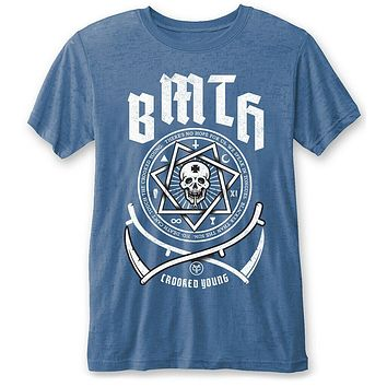 Bring Me The Horizon Crooked Young (Blue) Burnout T Shirt Neu Und Offiziell|T-Shirts