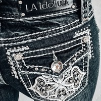 L.A. IDOL CRESTED CROSS SKINNY JEANS