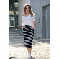 Navy and White Striped Drawstring Pincel Skirt