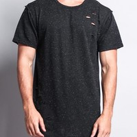 Ripped Oreo Long Length Curved Hem T-Shirt