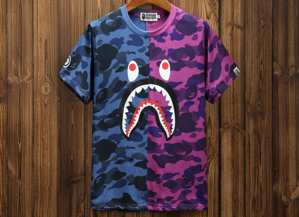 Image of Bape Summer Tide brand shark personality stitching camouflage printed short-sleeved T-shirt F-A-KSFZ Blue + purple