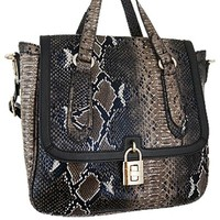 Python Snakeskin Print Satchel Messenger Style Purse w/ Shoulder Strap Brown