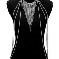 Silver Tassel Multirow Body Harness