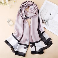2018 summer spain luxury brand women plain scarf fashion print silk scarves designer shawls and wraps long size bandanas foulard