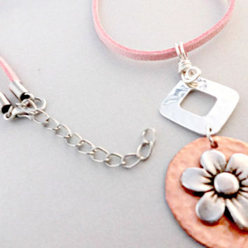 Copper and Sterling Silver Necklace, Artisan Copper Pendant, Pink Suede Necklace