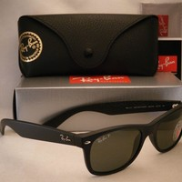 One-nice™ Ray Ban 2132 New Wayfarer Matte Black w Green Polar Lens (RB2132 622/58 52)