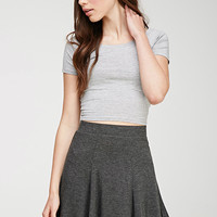Heathered Knit Fluted Skirt