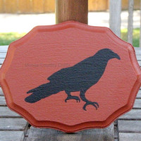 Rustic Primitive Crow Plaque - Fall, hand painted Pumpkin Orange Plaque with hand painted Black Crow