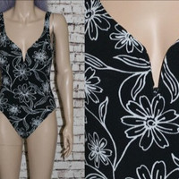 90s One Piece Swimsuit Floral Daisy Black White Bathingsuit Grunge hipster cyber goth Nu Bodysuit xs s
