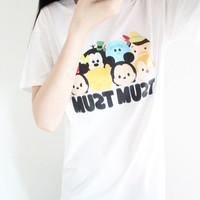 "White ""Must Must Cartoon"" Print Short Sleeve Shirt"