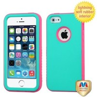 MyBat Hybrid Protector Cover for Apple iPhone 5S/5 - Retail Packaging - Rubberized Teal Green/Lightning Electric Pink Verge