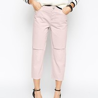 ASOS Maddox Parallel Jeans in Old Pink with Rip and Repair Abrasions