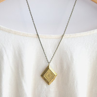 Vintage Brass Square Locket Necklace