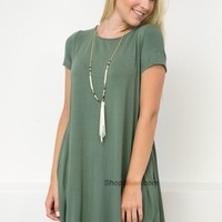 Bamboo Pocket Sage Dress