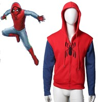 Spiderman Homecoming Cosplay Homemade Spider Suit Sleeveless Hoodie