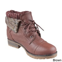 Refresh 'Wynne-01' Women's Lace-up Combat Ankle Boots | Overstock.com